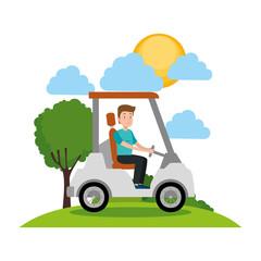 young man driving cart golf