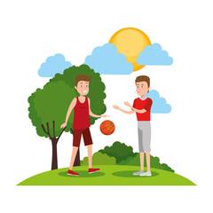 couple men athletes practicing basketball