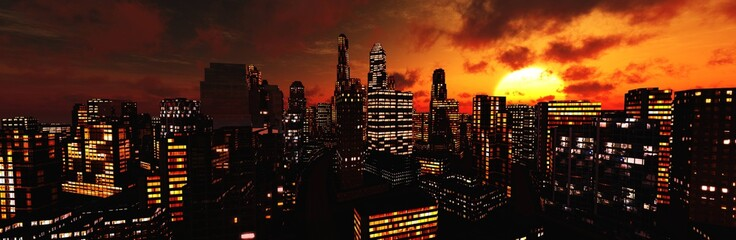 Wall Mural - Skyscrapers at sunset, Beautiful modern city against the setting sun,