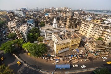 Kolkata city traffic on the crowded street in downtown, West Bengal, India. Top view Papier Peint