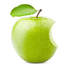 Green juicy apple, bite, isolated on white background, clipping path