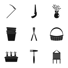 Garden icon set. Simple set of 9 garden vector icons for web design on white background