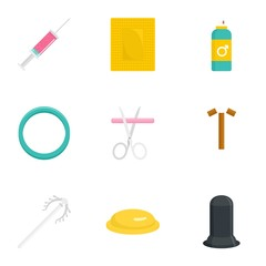 Obraz Contraception day icon set. Flat set of 9 contraception day vector icons for web design - fototapety do salonu