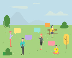 People character chatting on mobile phone in the park background. People vector illustration flat design.