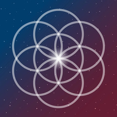 flower of life symbol on a cosmic interlocking circles space blue and red sacred geometry psychedelic vector