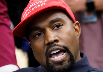 Rapper Kanye West speaks during meeting with U.S. President Trump at the White House in Washington