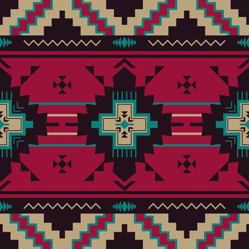 Native Southwest American, Indian, Aztec, Navajo seamless pattern.