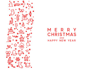 Merry Christmas and Happy New Year. Xmas holiday background greeting card.