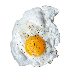 Aluminium Prints Egg Single fried egg sprinkled with ground black pepper isolated on white from above.