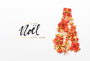 French text Joyeux Noel. Christmas greeting card. Creative composition in shape Xmas tree, with elegant stars and baubles balls, boxes gift.