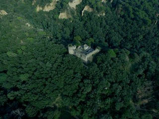 Aerial view castle in ruins