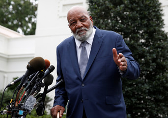 Former NFL football player Jim Brown speaks after meeting with U.S. President Donald Trump at the White House in Washington