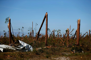Damage caused by Hurricane Michael is seen at Tyndall Air Force Base