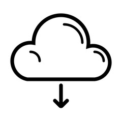 Cloud Download Internet Web Technology Computer vector icon