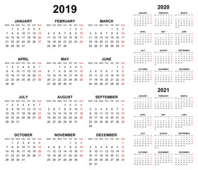 Simple editable vector calendars for year 2019 2020 2021 mondays first sundays in red