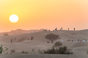 Sunset during desert safari, Dubai, United Arab Emirates, Asia