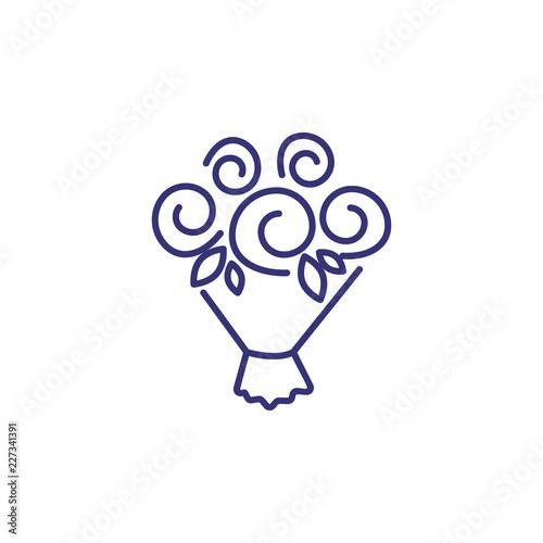 Flower bouquet line icon  Bunch, rose, leaf  Romance concept  Vector