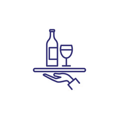 Serving wine line icon. Tray, drink, beverage. Restaurant concept. Vector illustration can be used for topics like event, celebration, catering