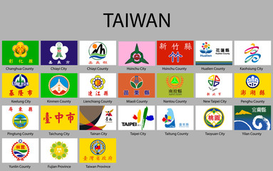 all Flags of regions of Taiwan