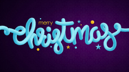 Merry Christmas light blue tinsel lettering and holiday decorations