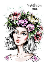 Hand drawn beautiful forest girl in flower wreath. Young woman looks like a nymph dryad. Fashion woman portrait. Sketch.