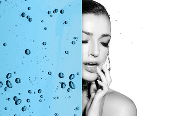 Beautiful woman skin care concept with hydrating water overlay