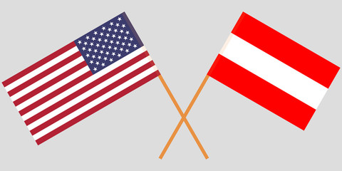 Austria and USA. The Austrian and American flags. Official colors. Correct proportion. Vector