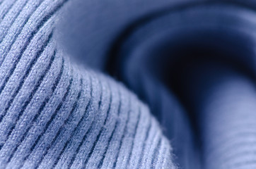 Blue sweater fabric textile material texture macro blur background
