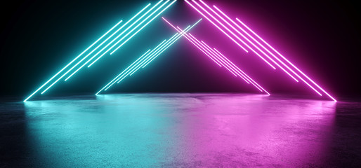 Empty Modern Sci Fi Futuristic Dark Room With Reflection Grunge Concrete Floor And Blue Purple Neon Glowing Electric Tube Triangle Shapes Lights With Black Background 3D Rendering