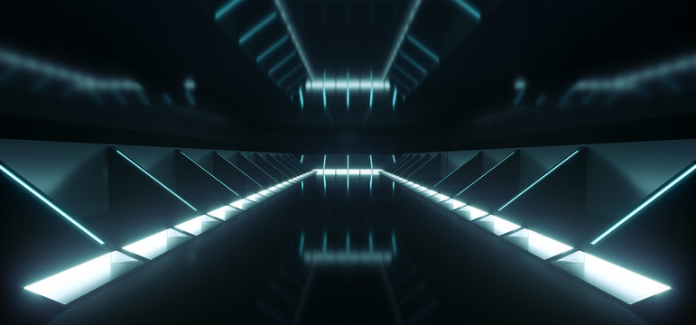 Futuristic Modern Sci Fi Dark Empty Spaceship Tunnel Corridor Room With Blue White Glowing Lights And Reflections Technology Concept Background 3D Rendering