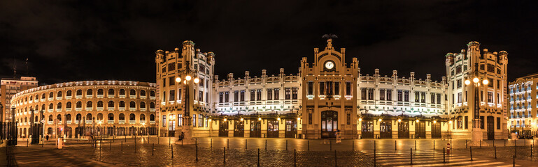 Printed kitchen splashbacks Train Station North Station most important train station in Valencia rail transport, Estacion del Norte Spain wide angle, city lights lighting, night view panorama with the bullring