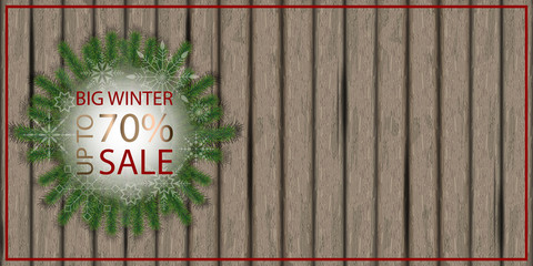 Christmas background, sale poster on  wooden board. 2019 big winter sale. Place for text. Vector