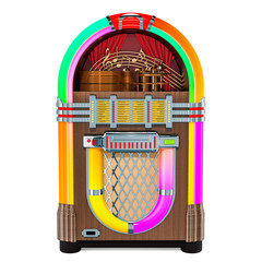 Vintage jukebox front view, 3D rendering