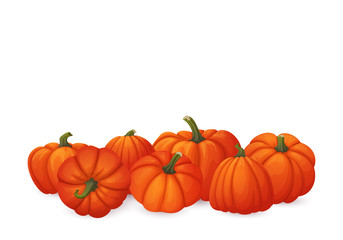 Bunch of ripe orange pumpkins with green stems isolated on white background.