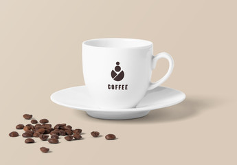 Coffee Cup with Coffee Beans Mockup