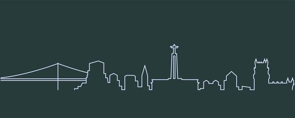 Lisbon Single Line Skyline
