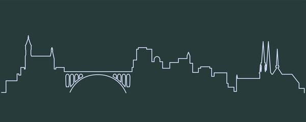 Luxembourg Single Line Skyline