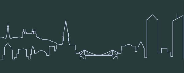 Lyon Single Line Skyline