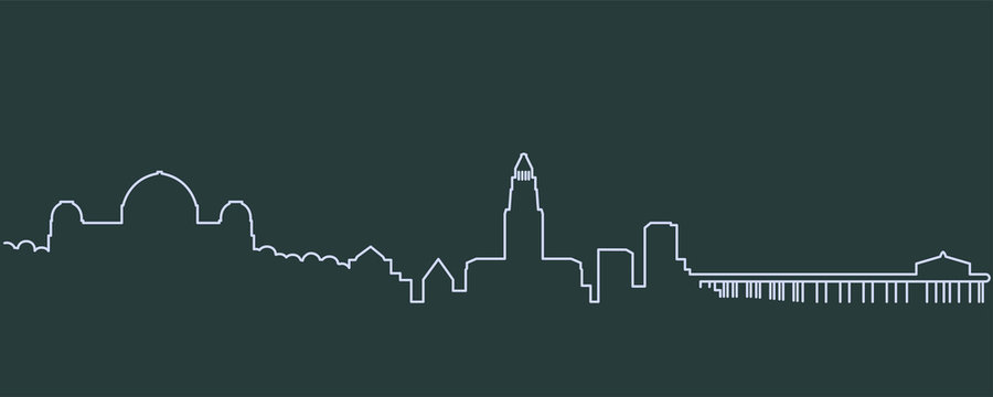 Los Angeles Single Line Skyline