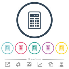 Scientific calculator flat color icons in round outlines