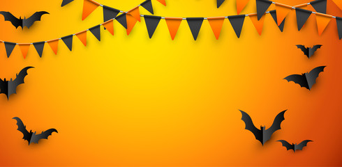 Orange Halloween poster with bats and flags.