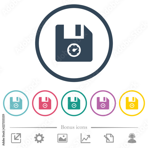 File size flat color icons in round outlines