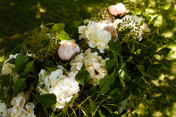 Florist composition with white and pale pink flowers, topview