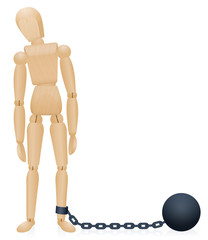 Prison ball and chain. Chained wooden manikin figure. Isolated comic vector illustration on white background.