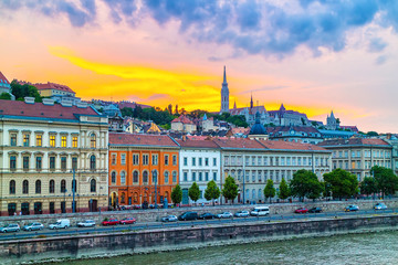 Colorful sunset over the historical district of Budapest city in Hungary