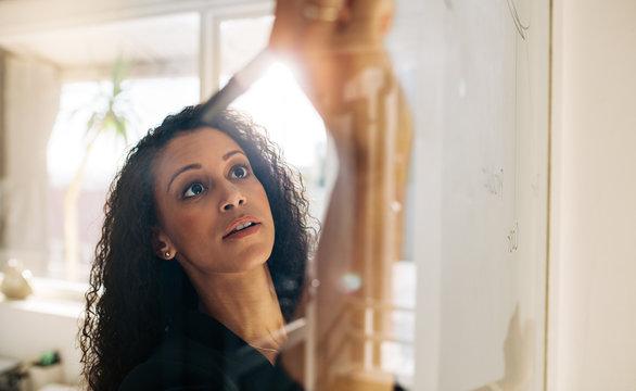 Woman entrepreneur writing on glass board in office