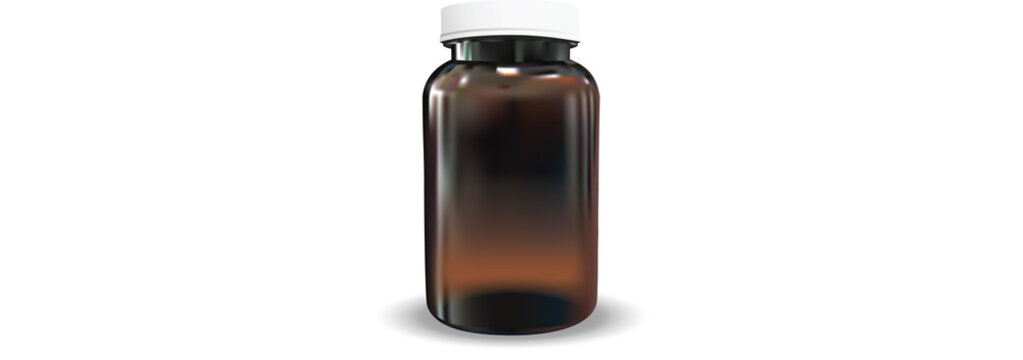 Empty Blank Amber Medicine Bottle