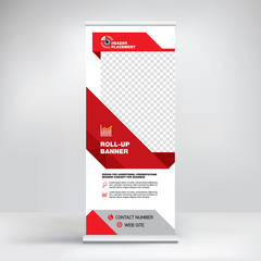 Roll-up design, modern graphic style, banner for advertising goods and services, stand for exhibitions, presentations, conferences, seminars. Abstract red background. Template for photos and text.