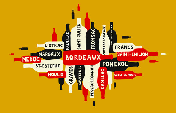 many wine bottles of different form and size going in different directions with Bordeaux appellations written on bottles - vector illustration