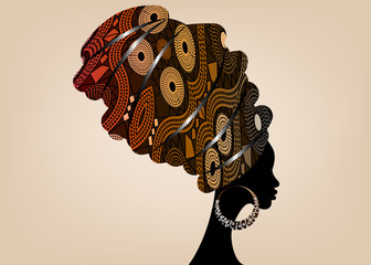 portrait beautiful African woman in traditional turban, Kente head wrap African, Traditional dashiki printing, black women vector silhouette isolated with traditional earrings, Afro hairstyle concept